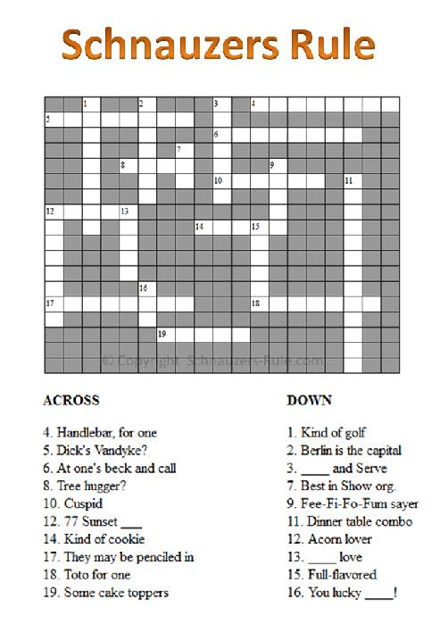 Schnauzer Crossword Puzzle