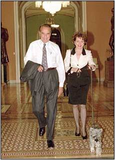Elizabeth and Bob Dole with Mini Schnauzer Leader