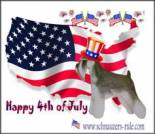 Fourth of July ecard, dog ecard, schnauzer card