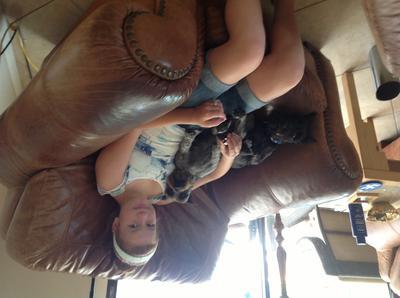 Lauren with happy in her lap, bea in her side