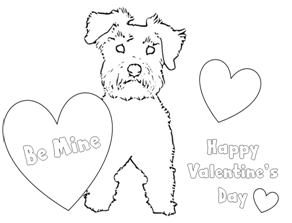 Schnauzer puppy Valentine coloring pages