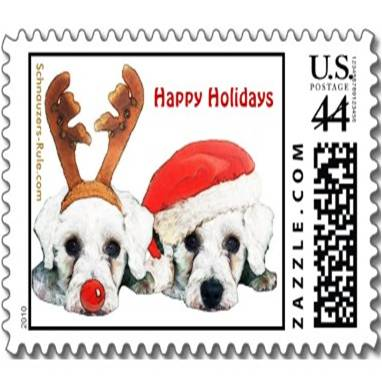 christmas schnauzers, schnauzer stamp, schnauzer postage