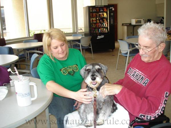 Therapy dog Harley at Tehab