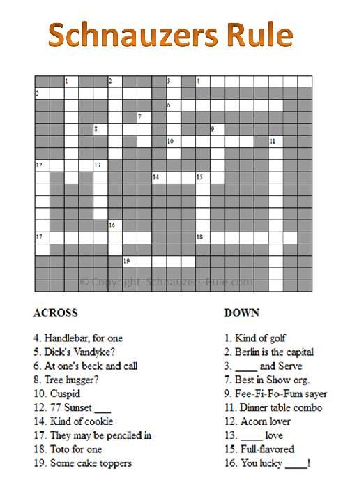 Schnauzer Crossword Puzzle