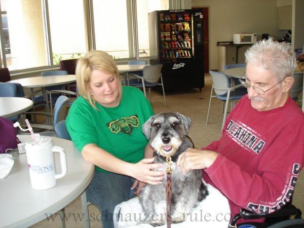Therapy dog Harley at Tehab